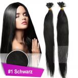 Echthaar Strähnen 0,5 g 60cm Haarverlängerung #1 Schwarz + Set