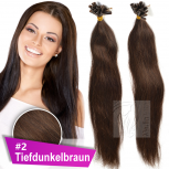 Strähnen 0,5g 60cm Haarverlängerung #2 Tiefdunkelbraun + Set