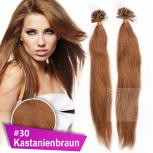 Bonding Strähnen 1 g 60cm #30 Kastanienbraun + Zubehör Set