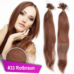 Bonding Strähnen 0,5 g 60cm #33 Rotbraun + Zubehör Set