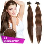 Strähnen 1g 45cm Haarverlängerung #3 Dunkelbraun + Set
