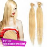 Bonding Strähnen 1 g 60 cm #613D Mittelhellblond Dark + Zubehör Set