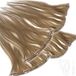 Clip Extensions Doppelpack 6 Haarteile Echthaar 40cm 110g #10 Hellbraun + 4 Clips