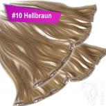 Clip Extensions Doppelpack 6 Haarteile Echthaar 60cm 110g #10 Hellbraun + 4 Clips