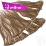 Clip Extensions Doppelpack 6 Haarteile Echthaar 45cm 110g #12 Hellgoldbraun + 4 Clips