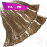 Clip Extensions Doppelpack 6 Haarteile Echthaar 60cm 110g #14/10 Mix + 4 Clips