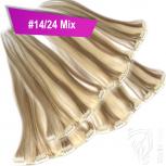 Clip Extensions Doppelpack 6 Haarteile Echthaar 45cm 110g #14/24 Mix + 4 Clips