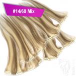 Clip Extensions Doppelpack 6 Haarteile Echthaar 40cm 110g #14/60 Mix + 4 Clips