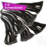 Clip Extensions Doppelpack 6 Haarteile Echthaar 45cm 110g #1B Schwarzbraun + 4 Clips