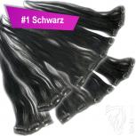 Clip Extensions Doppelpack 6 Haarteile Echthaar 40cm 110g #1 Schwarz + 4 Clips