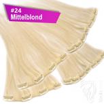 Clip Extensions Doppelpack 6 Haarteile Echthaar 60cm 110g #24 Mittelblond + 4 Clips