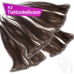 Clip Extensions Doppelpack 6 Haarteile Echthaar 45cm 110g #2 Tiefdunkelbraun + 4 Clips
