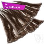 Clip Extensions Doppelpack 6 Haarteile Echthaar 45cm 110g #4 Dunkelbraun + 4 Clips