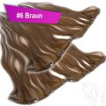 Clip Extensions Doppelpack 6 Haarteile Echthaar 45cm 110g #6 Braun + 4 Clips