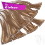 Clip Extensions Doppelpack 6 Haarteile Echthaar 45cm 110g #8 Mittelbraun + 4 Clips