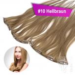 Clip In Single Haarteil Echthaar 45cm 9cm|14cm|18cm #10 Hellbraun