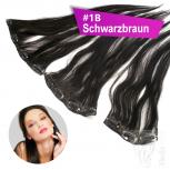 STARTER SET Clip In 3 Teile 9 Clips 45cm 55g #1B Schwarzbraun + 4 Clips