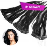 Clip In Single Haarteil Echthaar 45cm 18 cm breit mit 4 Clips #1 Schwarz