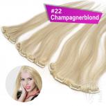 Clip In Single Haarteil Echthaar 45cm 14 cm breit mit 4 Clips #22 Champagnerblond
