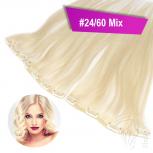 STARTER SET Clip In 3 Haarteile 9 Clips 45cm #24/60 Mix Mittelblond + 4 Spangen