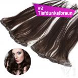 Clip In Single Haarteil Echthaar 45cm 9cm | 14cm | 18cm #2 Tiefdunkelbraun