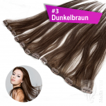 Clip In Single Haarteil Echthaar 45cm 9cm | 14cm | 18cm #3 Dunkelbraun
