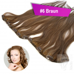 Clip In Single Haarteil Echthaar 60cm 9cm|14cm|18cm #6 Braun
