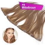 STARTER SET Clip In 3 Teile 9 Clips 45cm 55g #8 Mittelbraun + 4 Clips