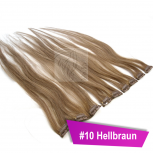 Clip In Extensions Echthaar 60 cm #10 Hellbraun 5 Tressen 45g + 4 Spangen