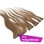 Clip In Extensions Echthaar 60 cm #12 Hellgoldbraun 5 Tressen 45g + 4 Spangen