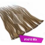Clip In Extensions Echthaar 60 cm #14/10 Mix 5 Tressen 45g + 4 Spangen