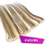 Clip In Extensions Echthaar 60 cm #14/24 Mix 5 Tressen 45g + 4 Spangen