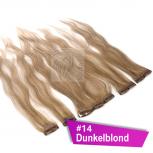Clip In Extensions Echthaar 45 cm #14 Dunkelblond 5 Tressen 45g + 4 Spangen
