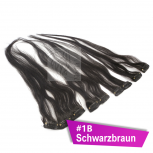 Clip In Extensions Echthaar 40 cm #1B Schwarzbraun 5 Tressen 45g + 4 Spangen