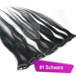 Clip In Extensions Echthaar 40 cm #1 Schwarz 5 Tressen 45g + 4 Spangen