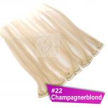 Clip In Extensions Echthaar 60 cm #22 Champagnerblond 5 Tressen 45g + 4 Spangen