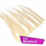 Clip In Extensions Echthaar 40 cm #24 Mittelblond 5 Tressen 45g + 4 Spangen