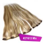 Clip In Extensions Echthaar 45 cm #27/613 Mix Blond 5 Tressen 45g + 4 Spangen