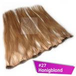 Clip In Extensions Echthaar 45 cm #27 Honigblond 5 Tressen 45g + 4 Spangen