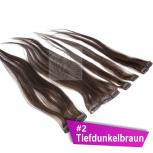 Clip In Extensions Echthaar 60 cm #2 Tiefdunkelbraun 5 Tressen 45g + 4 Spangen