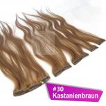 Clip In Extensions Echthaar 60 cm #30 Kastanienbraun 5 Tressen 45g + 4 Spangen
