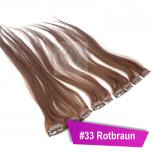 Clip In Extensions Echthaar 60 cm #33 Rotbraun 5 Tressen 45g + 4 Spangen