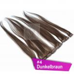 Clip In Extensions Echthaar 40 cm #4 Dunkelbraun 5 Tressen 45g + 4 Spangen