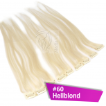 Clip In Extensions Echthaar 60 cm #60 Hellblond 5 Tressen 45g + 4 Spangen