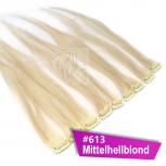 Clip In Extensions Echthaar 40 cm #613 Mittelhellblond 5 Tressen 45g + 4 Spangen
