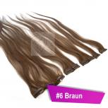 Clip In Extensions Echthaar 60 cm #6 Braun 5 Tressen 45g + 4 Spangen