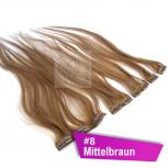 Clip In Extensions Echthaar 60 cm #8 Mittelbraun 5 Tressen 45g + 4 Spangen