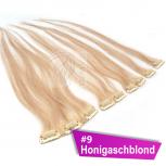 Clip In Extensions Echthaar 45 cm #9 Honigaschblond 5 Tressen 45g + 4 Spangen