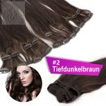 Clip In Extensions Echthaar 40 cm #2 Tiefdunkelbraun 13 Tressen 145g + 4 Clips