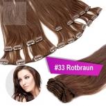 Clip In Extensions Echthaar 60 cm #33 Rotbraun 13 Tressen 145g + 4 Clips